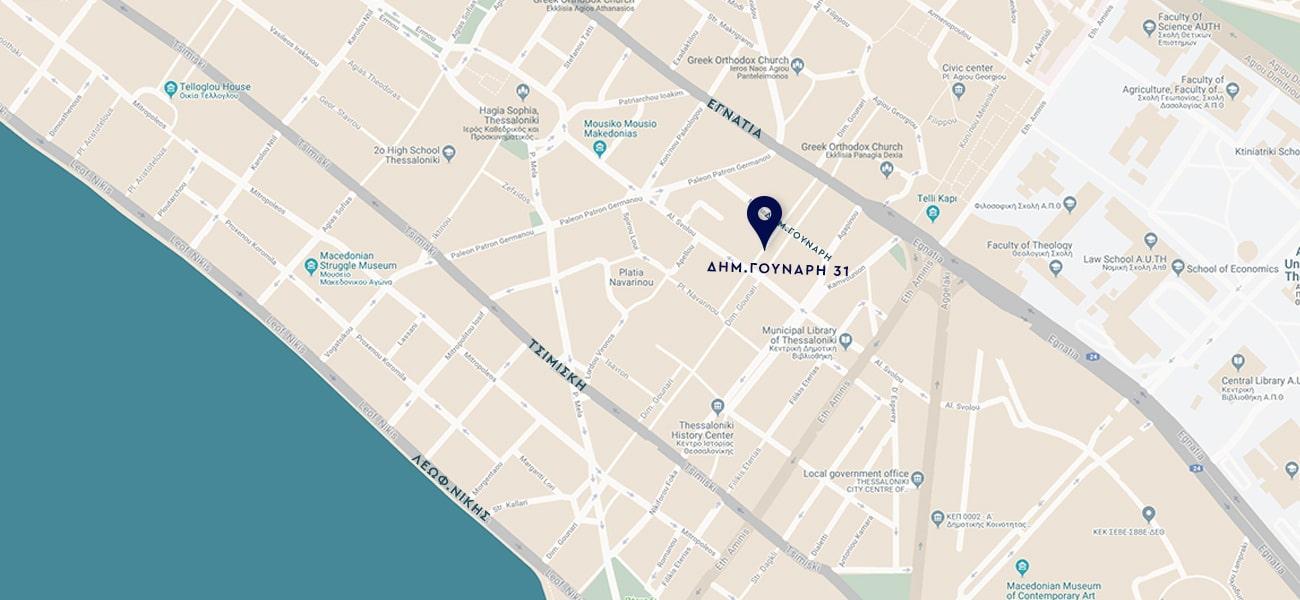 Χάρτης με τοποθεσία ιατρείου